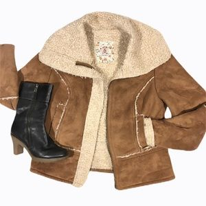 Sherpa Camel Brown Coat Size M